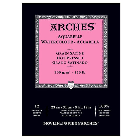 "Arches Watercolor Pad, Hot Press 9""X12"","