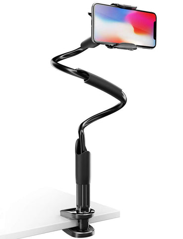 Phone Holder Bed Gooseneck Mount - Lamicall Flexible Arm 360 Mount Clip Bracket Clamp Stand for Cell Phone 11 Pro XS Max XR X 8 7 6 Plus 5 4, Samsung S10 S9 S8 S7 S6, Overall Length 33.4In(Black)