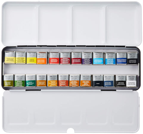 Winsor & Newton : Professional Watercolour : Lightweight Metal Sketchers Box Set : 24 Half Pans (24 Colors Set)