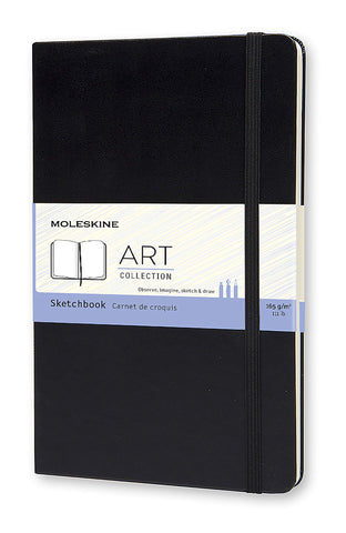 "Moleskine Art Sketchbook, Hard Cover, Large (5"" x 8.25"") Plain/Blank, Black"