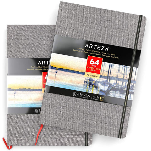 "ARTEZA 8.3x11.7"" Watercolor Book, Pack of 2 Watercolor Sketchbooks, 64 Sheets per Pad, 110lb/230gsm, Linen Bound with Bookmark Ribbon and Elastic Strap, for Watercolor Techniques and Mixed Media"