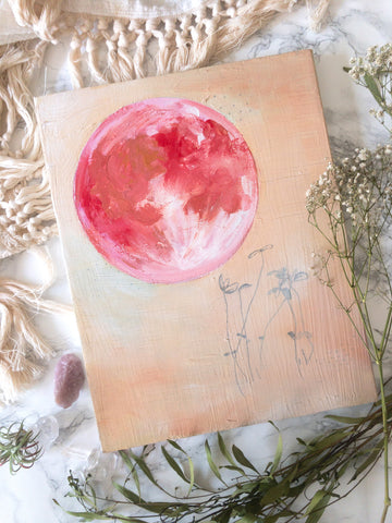 'Pink Moon' Original Painting - Mai Autumn - Original Art