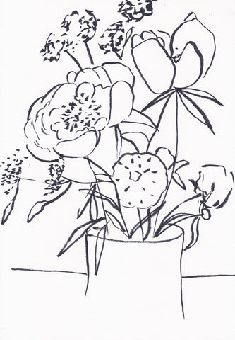 Floral Line Drawing Art Print