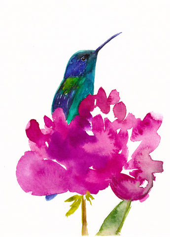 Hummingbird in a Peony Art Print - Mai Autumn - Artwork