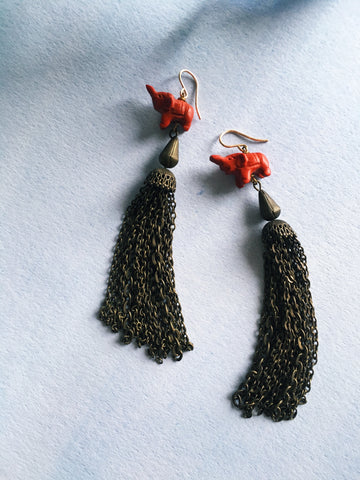 Elephant Tassel Earrings - Mai Autumn - earrings