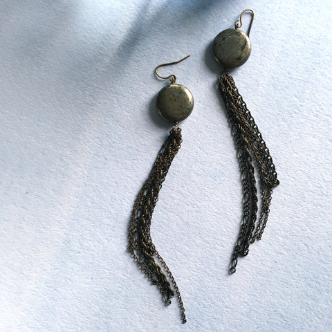Pyrite Tassel Earrings - Mai Autumn - earrings