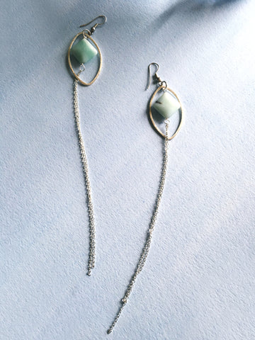 Blue Jade Duster Earrings - Mai Autumn - earrings