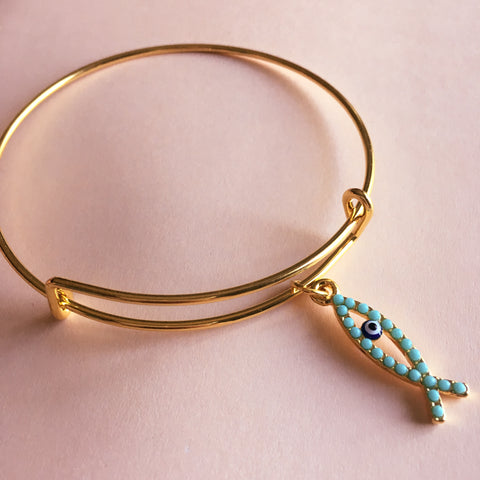 Fish Evil Eye Bangle Bracelet - Mai Autumn - Bracelets