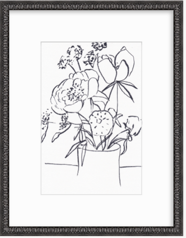 'Floral Line Drawing' Original Drawing
