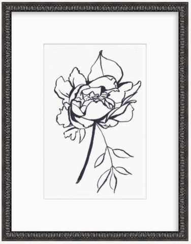 'Peony Line Drawing' Original Drawing