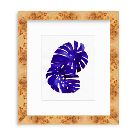 'Indigo Monstera Leaves' Original Watercolor