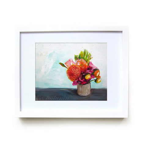 Summer Bouquet Framed Print in White