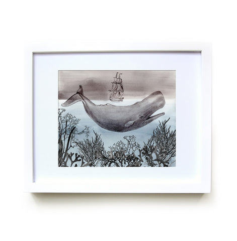 The Sea Framed Print in White