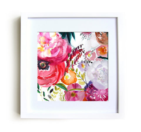 Bloom Framed Print in White