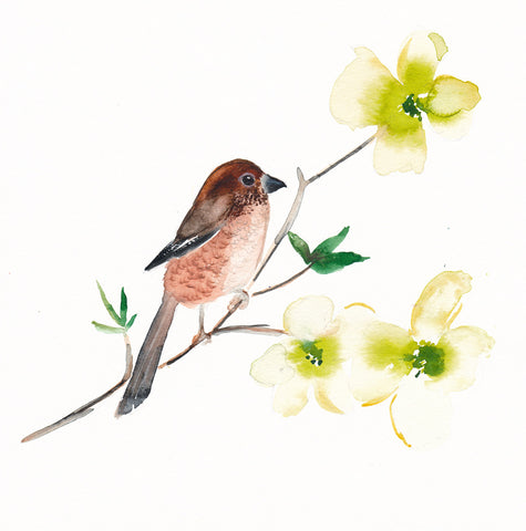 'Bird on a Dogwood Branch' Original Painting - Mai Autumn - Original Art