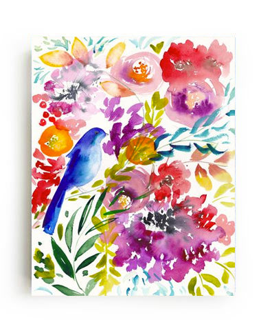 Bluebird in the Blooms Canvas Print