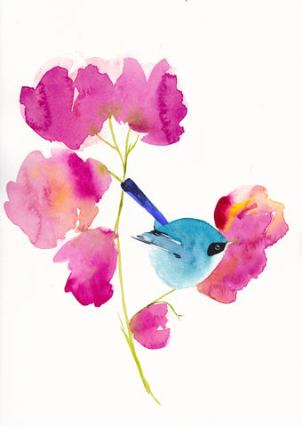 Blue Bird in the Flowers Art Print