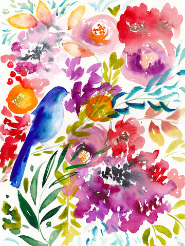 Bluebird Amongst the Blooms Art Print