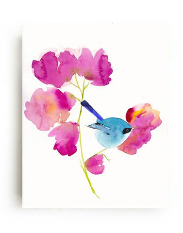 Bluebird in the Flowers Canvas Print