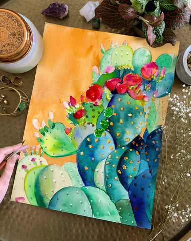 'Cactus Garden' Original Watercolor Painting