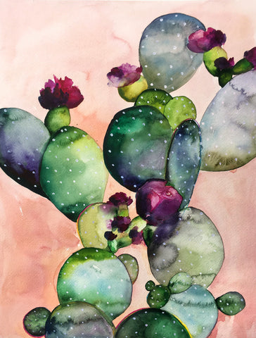 Desert Rose II Original Watercolor Painting - Mai Autumn - Original Art