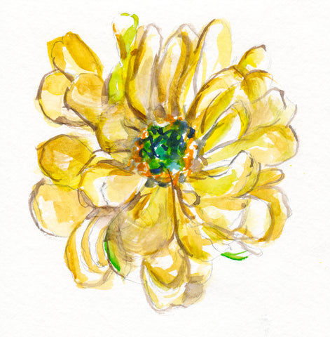 'Yellow Floral Sketch' Original Watercolor Sketch