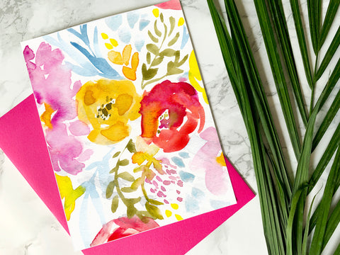 Floral Watercolor Card - Digital Download