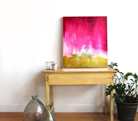 Pink and Gold Abstract Canvas Print