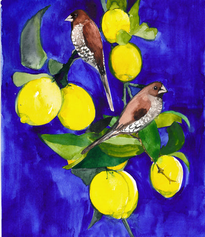 'Finches in the Lemon Tree' Original Painting - Mai Autumn - Original Art