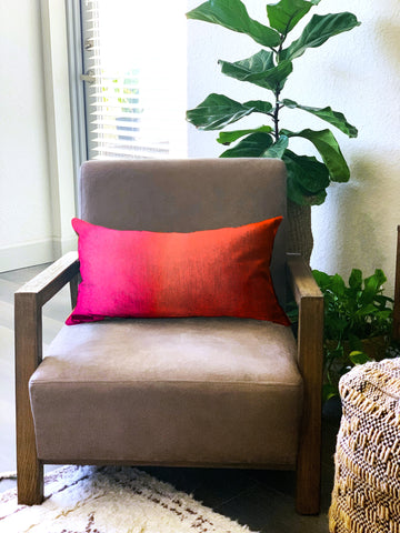 Magenta Orange Ombre Watercolor Pillow