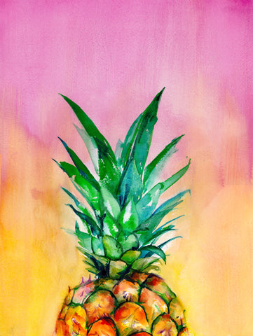 Ombre Pineapple Watercolor Art Print - Mai Autumn - Artwork