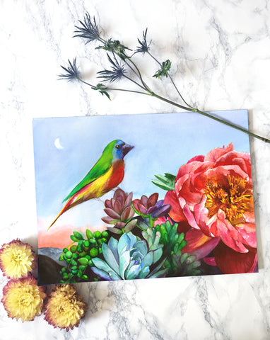 'Parrot Finch in a Desert Garden' Original Watercolor Painting - Mai Autumn - Original Art