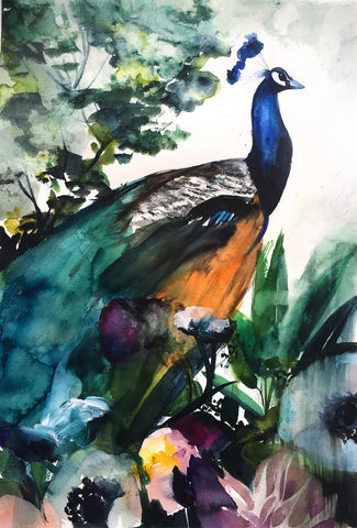 Peacock Garden Original Watercolor Painting - Mai Autumn - Original Art