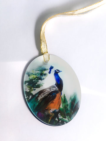 Peacock Garden Glass Ornament - Mai Autumn - Gifts