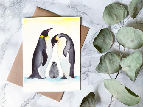 Penguin Family Card - Digital Download