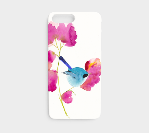Blue Bird in the Flowers Phone Case - Mai Autumn - Phone Cases