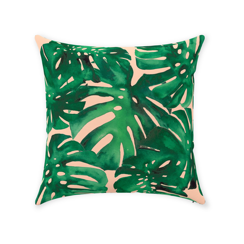 Monstera on Peach Throw Pillow