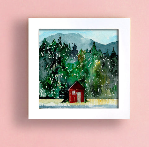 Red Cabin on the Lake Original Painting - Mai Autumn - Original Art