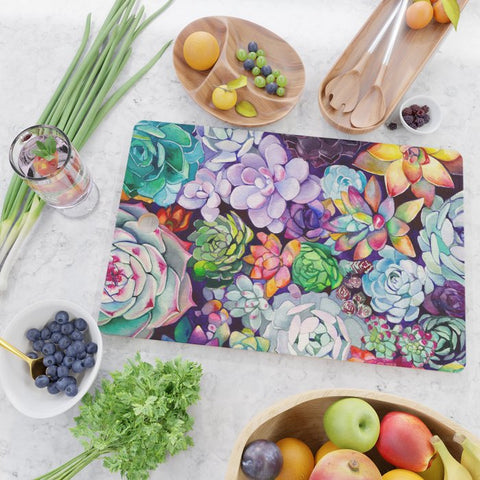 Succulent Garden Glass Cutting Board