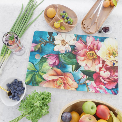 Tropical Floral I Glass Cutting Board