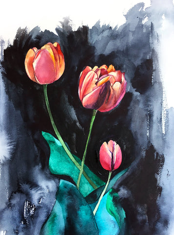 'Tulips on Dark' Original Painting - Mai Autumn - Original Art