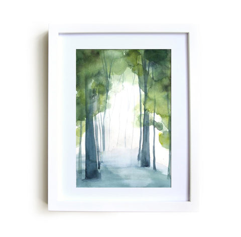 Grove I Framed Print in White