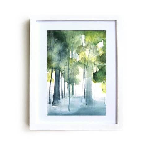 Grove II Framed Print in White