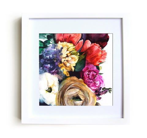 Wild Garden Framed Print in White
