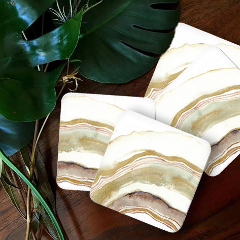 White Agate Watercolor Coasters