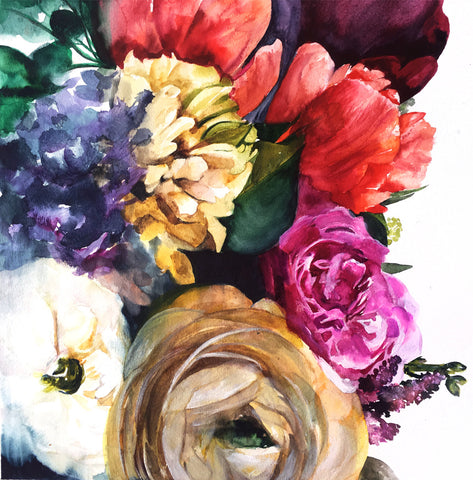 Wild Garden Original Watercolor Painting