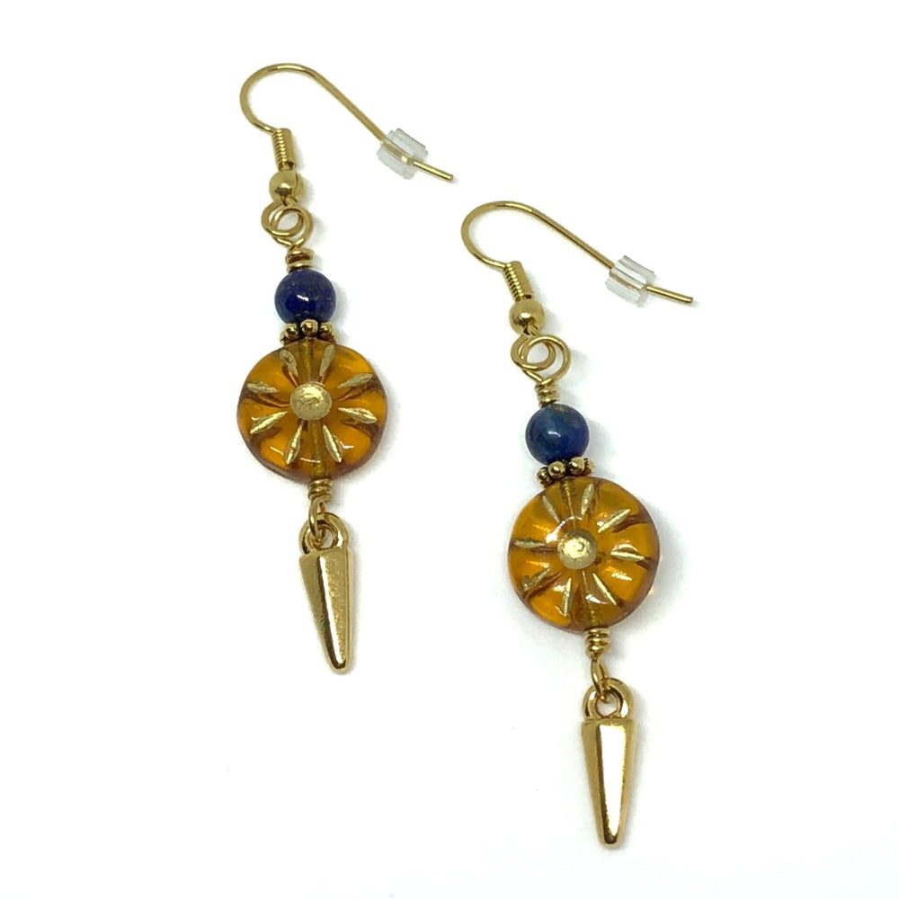 Amber-Colored and Blue Earrings with Dagger Charms
