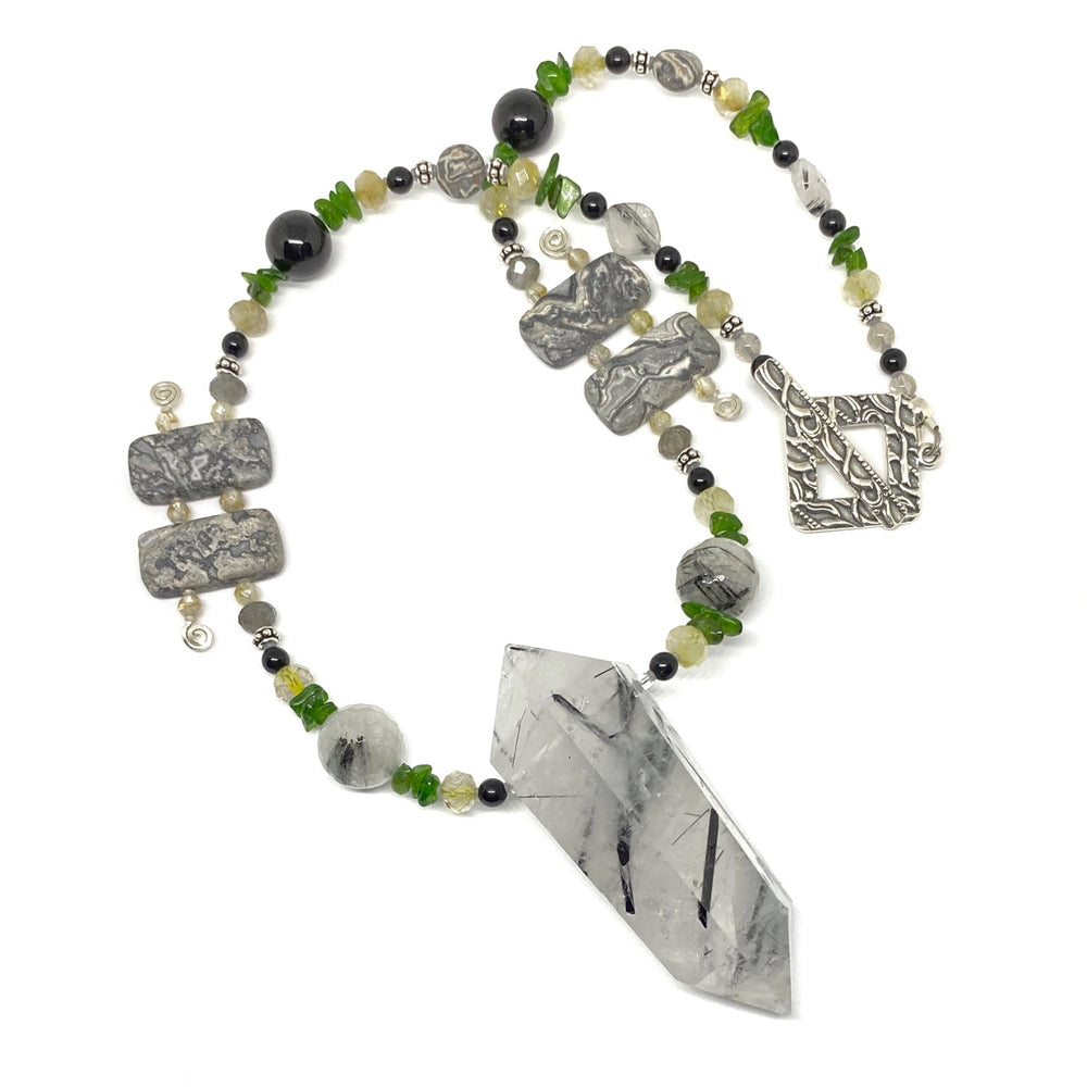 Black, White, Gray, Yellow, and Green Beaded Pendant Necklace