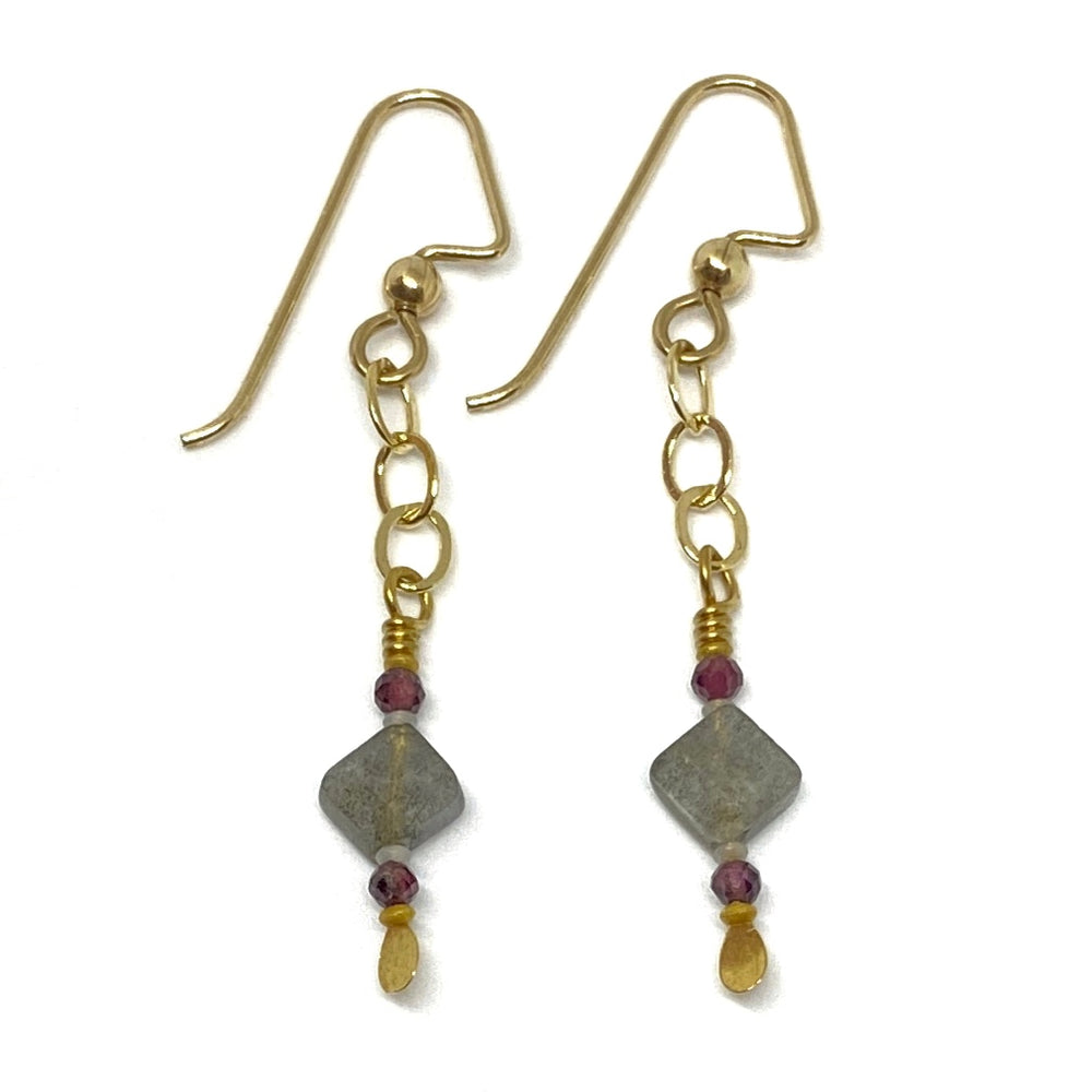 Gray, Red, and Golden Beaded Dangle Earrings with Chain
