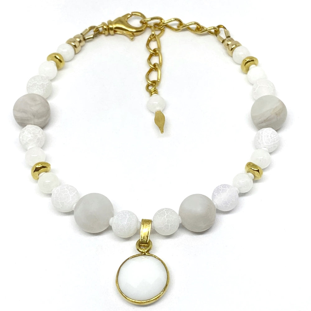 White Beaded Bracelet with Golden Accents